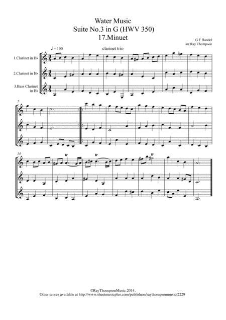 Handel 17 Minuet From Suite 3 In G Hww350 The Water Music Wassermusik Clarinet Trio  music sheet