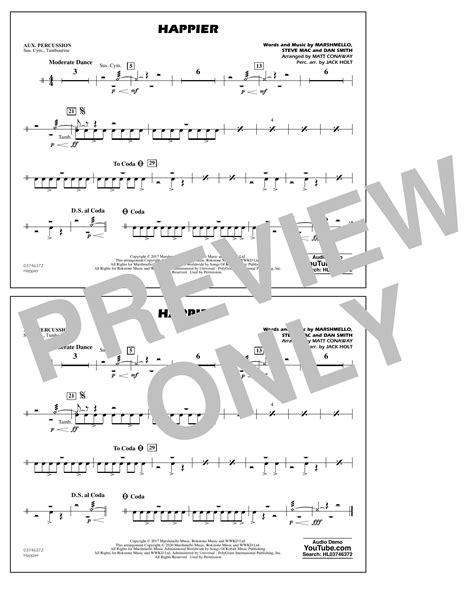 Happier Arr Matt Conaway And Jack Holt Aux Percussion  music sheet