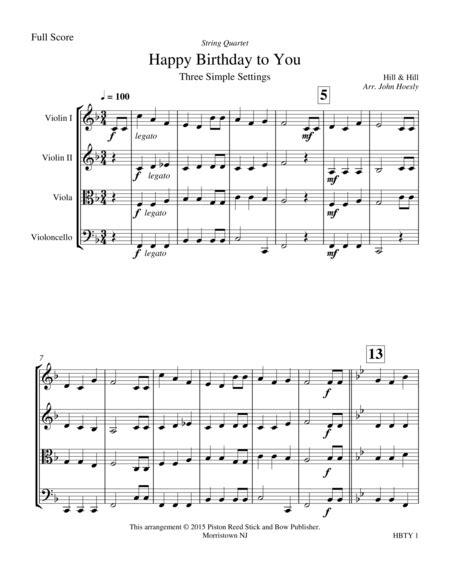 Happy Birthday String Quartet  music sheet