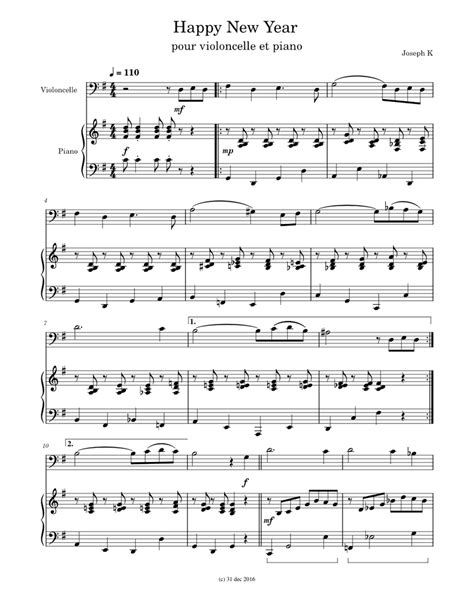 Happy New Year Song Without Words  music sheet