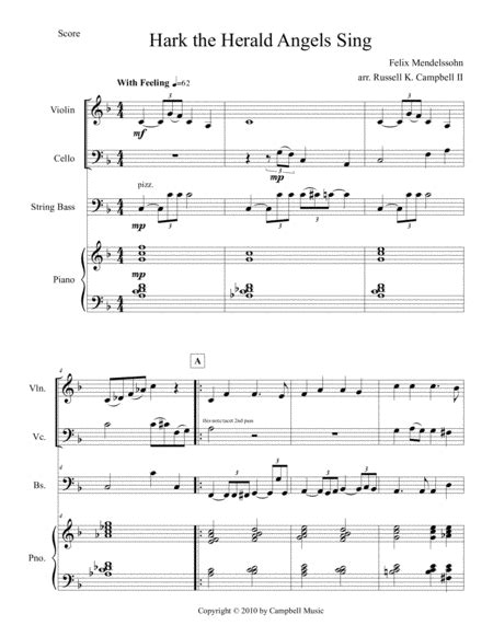 Hark The Herald Angels Sing Violin Piano Bass With Optional Cello Part  music sheet