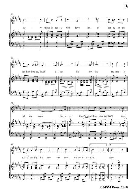 Harry Von Tilzer All Alone In A Major For Voice And Piano  music sheet