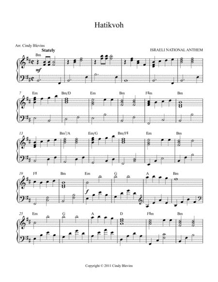 Hatikvoh Arranged For Lever Or Pedal Harp From My Book 15 Hymns  music sheet
