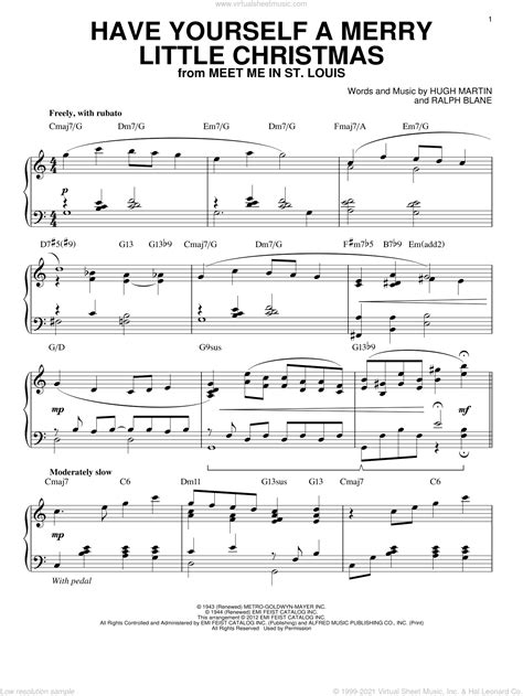 Have Yourself A Merry Little Christmas For Intermediate Solo Piano  music sheet