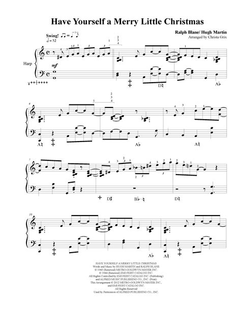 Have Yourself A Merry Little Christmas Harp Solo  music sheet