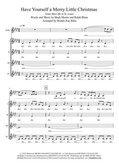 Have Yourself A Merry Little Christmas Ssaa  music sheet