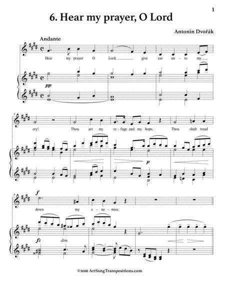 Hear My Prayer O Lord Op 99 No 6 E Major  music sheet