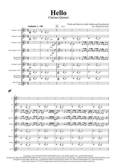 Hello Adele Clarinet Quintet  music sheet