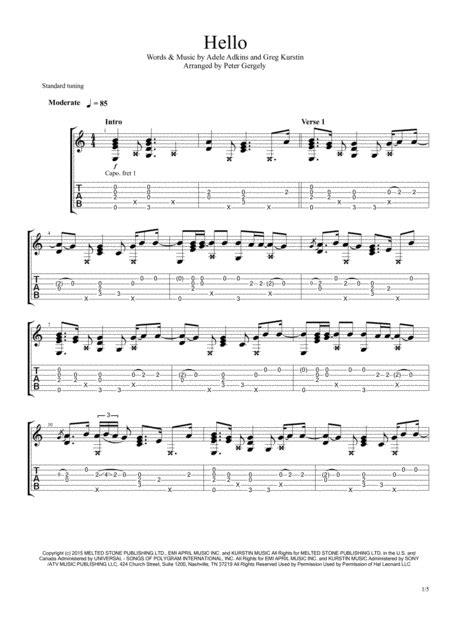 Hello Fingerstyle Guitar  music sheet