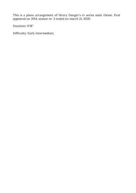 Henry Danger Main Title Easy Piano  music sheet