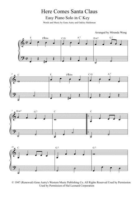 Here Comes Santa Claus Right Down Santa Claus Lane Easy Intermediate Piano Solo In Eb With Chords  music sheet