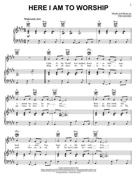 Here I Am To Worship For Violin Chords  music sheet