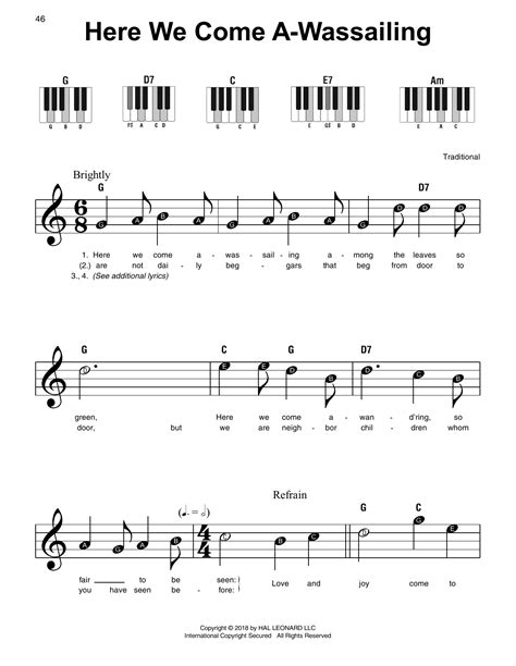 Here We Come A Wassailing Arranged For Harp And Violin  music sheet