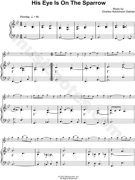 His Eye Is On The Sparrow Piano Accompaniment For Bb Trumpet  music sheet