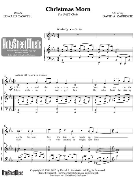 Holy Christmas Morn Satb  music sheet