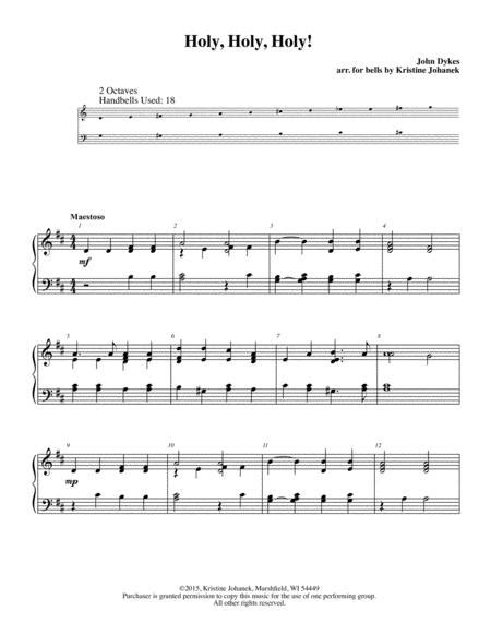 Holy Holy Holy 2 Octave Handbells Tone Chimes Or Hand Chimes  music sheet