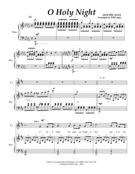 Holy Night Satb Duet With Piano And Optional Narration  music sheet