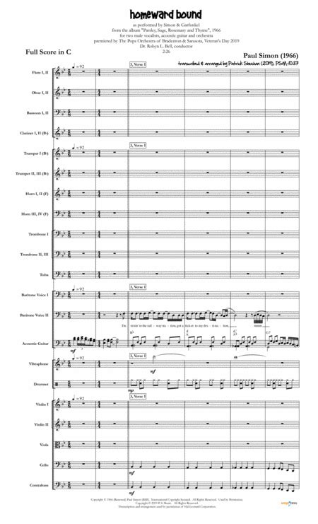 Homeward Bound Simon Garfunkel For Two Male Vocalists Acoustic Guitar Full Orchestra  music sheet