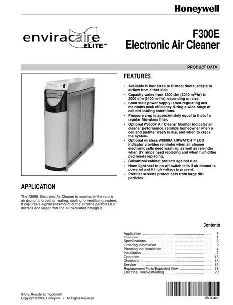free download ebooks Honeywell Enviracaire Elite F300e Manual.pdf