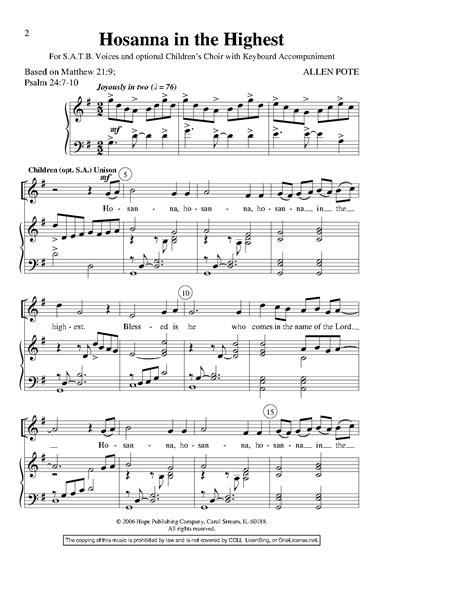 Hosanna In The Highest  music sheet