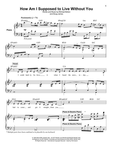 How Am I Suppose To Live Without You Lead Sheet Performed By Michael Bolton  music sheet