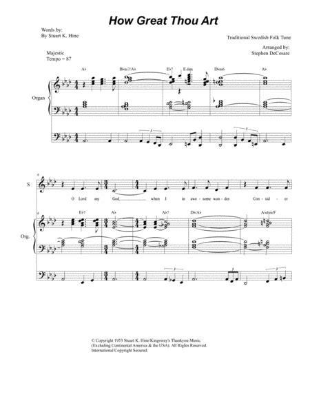 How Great Thou Art For 2 Part Choir Sa Organ Accompaniment  music sheet