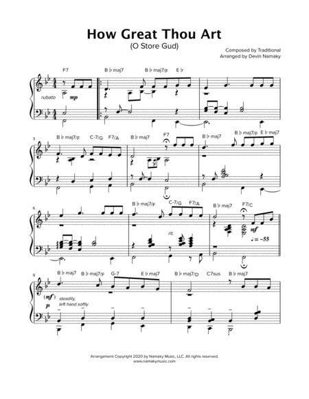How Great Thou Art O Store Gud Jazz Piano Solo  music sheet