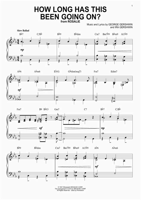 how long has this been going on mens version music sheet