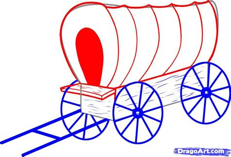 how to draw a covered wagon step by step Google Search
