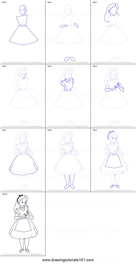 how to draw alice in wonderland characters step by step