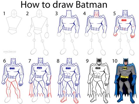 how to draw batman characters step by step drawing