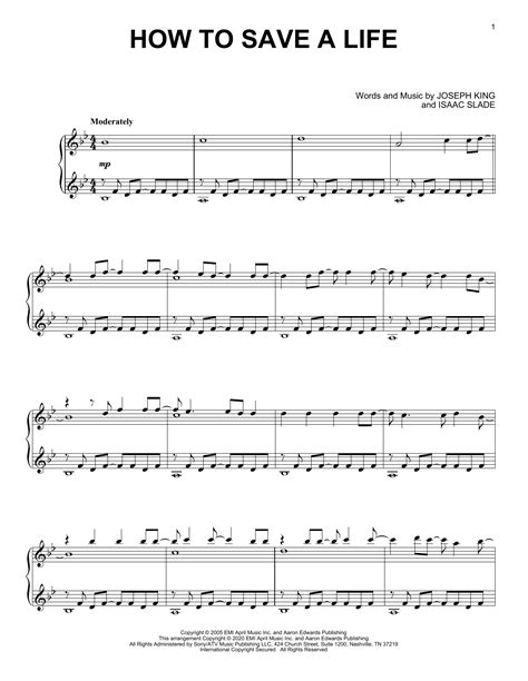 How To Save A Life  music sheet