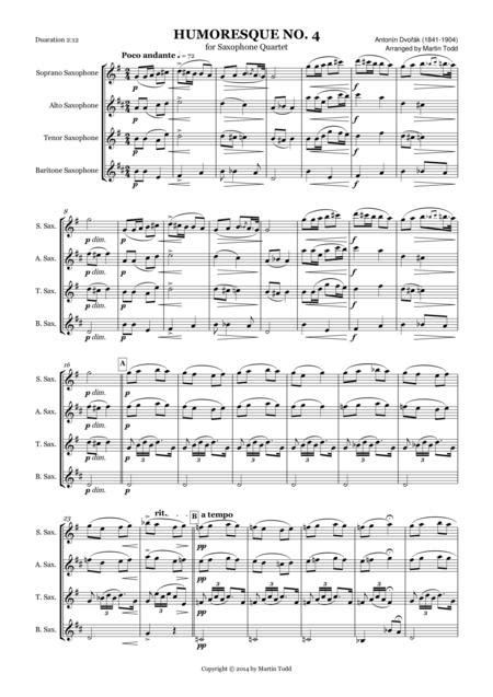 Humoresque No 4 For Saxophone Quartet  music sheet