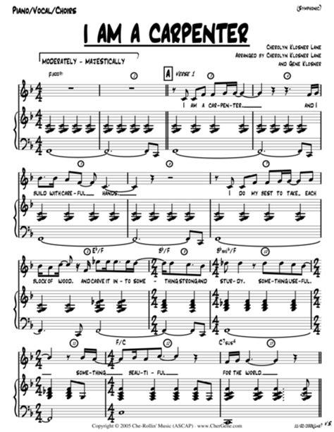 I Am A Carpenter Josephs Song Octavo W Chords  music sheet