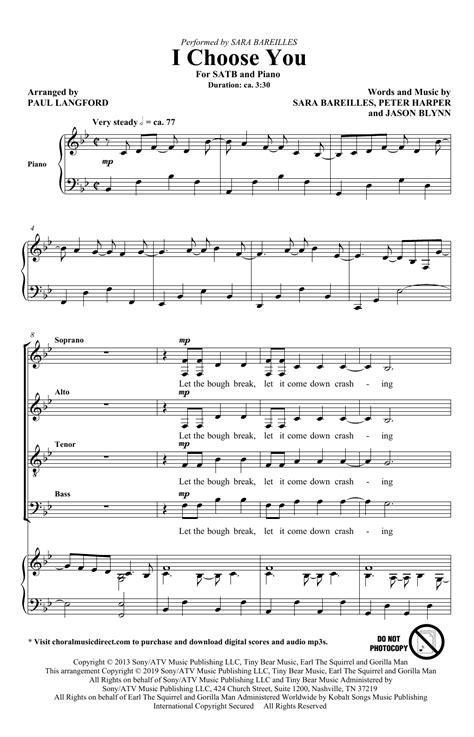 I Choose Satb Choral  music sheet