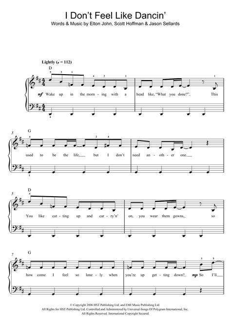 I Dont Feel Like Dancin Ttbb Popband  music sheet