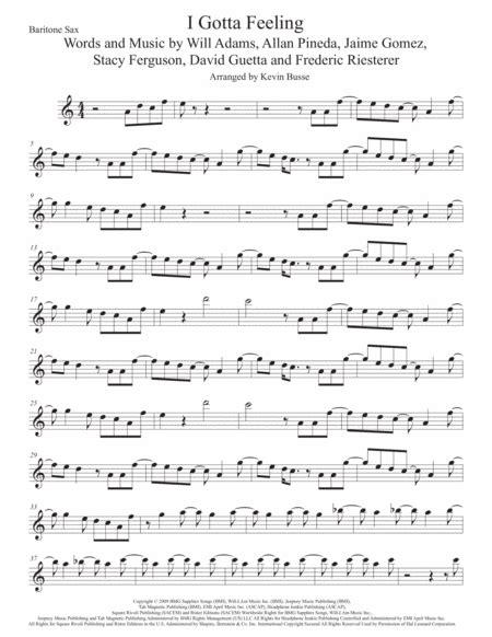 I Gotta Feeling Bari Sax Original Key  music sheet