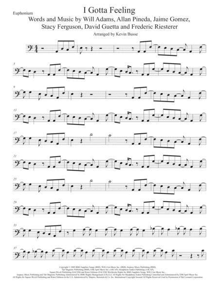 I Gotta Feeling Euphonium Easy Key Of C  music sheet