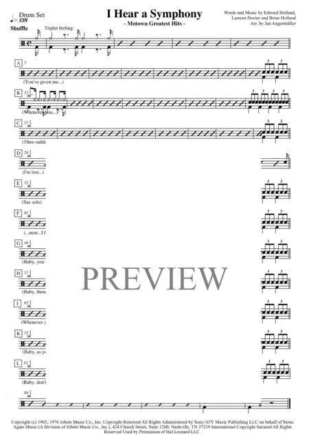 I Hear A Symphony Drum Set Transcription Of Original Motown Recording  music sheet