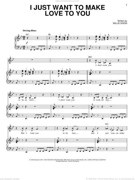 I Just Want To Love You  music sheet