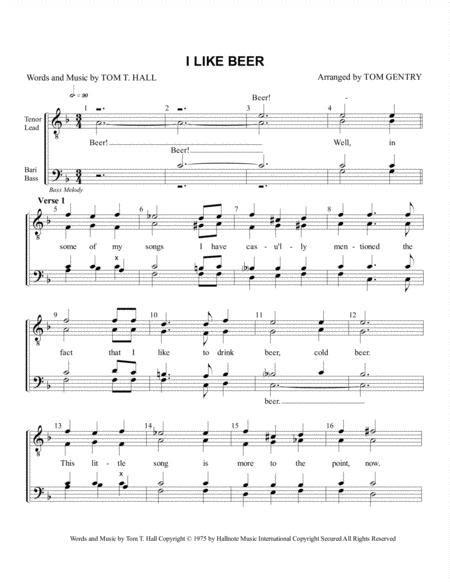 I Like Beer Bass Melody  music sheet