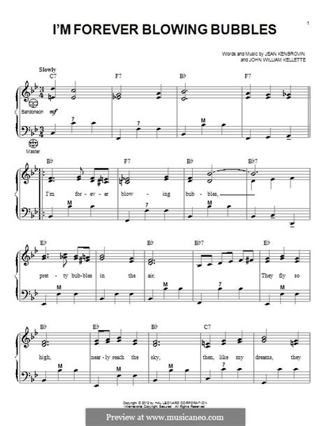i m forever blowing bubbles music sheet