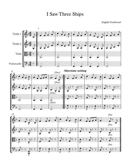 I Saw Three Ships Easy String Quartet music sheet