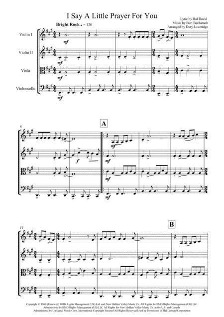 I Say A Little Prayer For You Bacharach String Quartet  music sheet