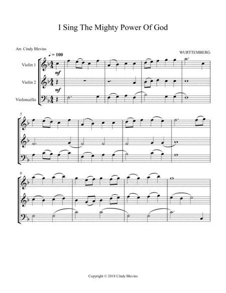 I Sing The Mighty Power Of God For Two Violins And Cello  music sheet