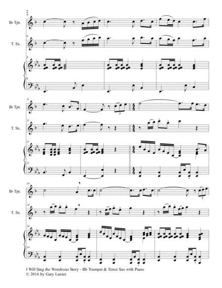 I Will Sing The Wondrous Story Trio Bb Trumpet Tenor Sax With Piano And Parts  music sheet