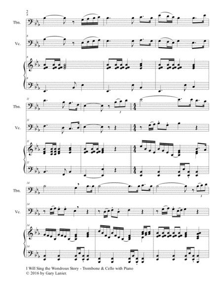 I Will Sing The Wondrous Story Trio Trombone Cello With Piano And Parts  music sheet