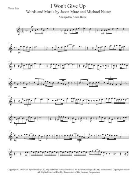 I Wont Give Up Easy Key Of C Tenor Sax  music sheet