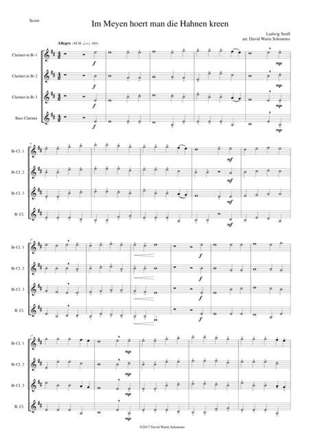 Im Meyen Hoert Man Die Hahnen Kreen In May You Hear The Cocks Crow For Clarinet Quartet  music sheet