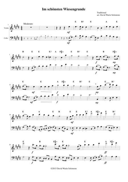 Im Schnsten Wiesengrunde For Violin Cello And Guitar  music sheet
